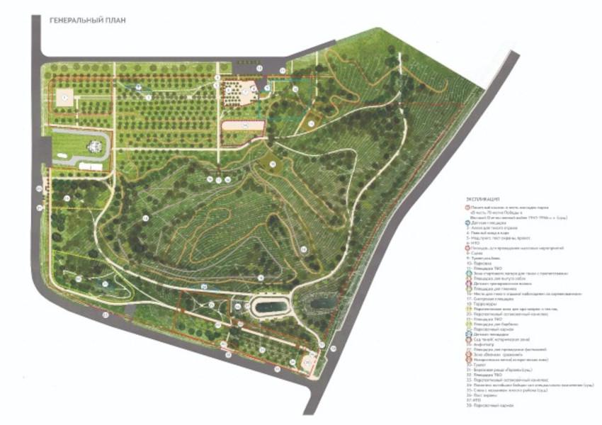 Генеральный план парка в ЖК Суворовский
