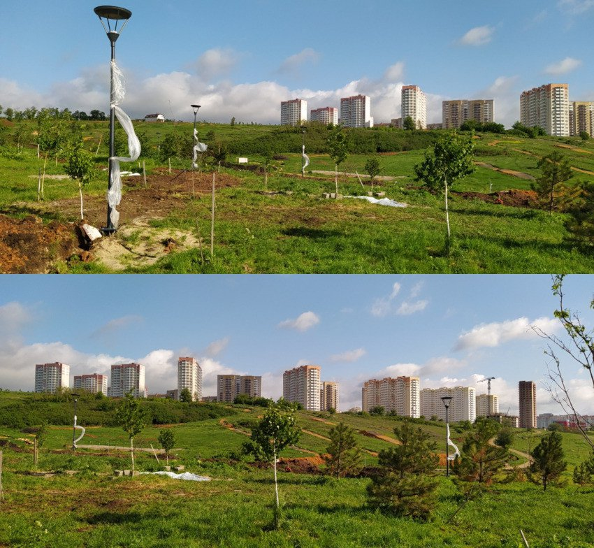 Строительство парка в ЖК Суворовский весна 2021